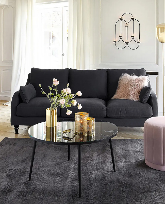 table basse imitation marbre noir ronde