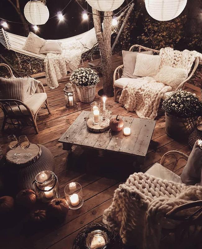 deco terrasse cocooning plaid cosy