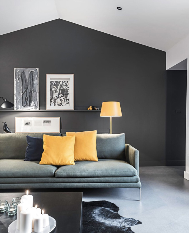 deco salon moderne gris blanc